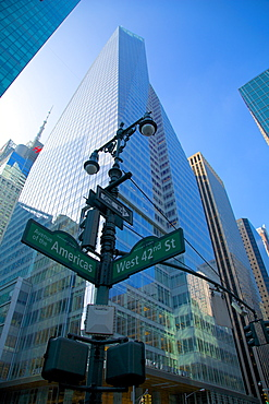 Avenue of the Americas and West 42nd Street signs, New York, United States of America, North America