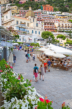 Restaurants on Via Marina Grande, Positano, Province of Salerno, Costiera Amalfitana (Amalfi Coast), UNESCO World Heritage Site, Campania, Italy, Europe