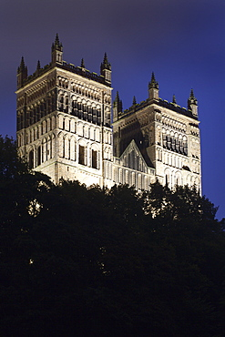 Durham Cathedral floodlit at dusk, UNESCO World Heritage Site, Durham, County Durham, England, United Kingdom, Europe
