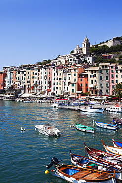 Colourful painted buildings by the Marina at Porto Venere, Cinque Terre, UNESCO World Heritage Site, Liguria, Italy, Europe