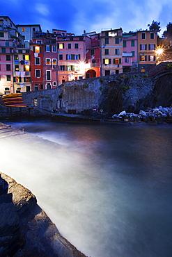 Riomaggiore Harbour at dusk, Cinque Terre, UNESCO World Heritage Site, Liguria, Italy, Mediterranean, Europe