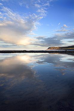 Looking toward Ravenscar from Robin Hoods Bay on a summer evening, Yorkshire, England, United Kingdom, Europe