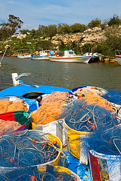Fishing boats and nets, Potamos Tou Liopetri, Cyprus, Mediterranean, Europe