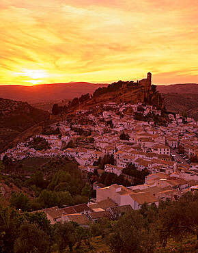 Sunset over white village, Montefrio, Andalucia, Spain, Europe
