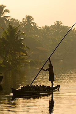 Sunset on the Backwaters, near Alappuzha (Alleppey), Kerala, India, Asia