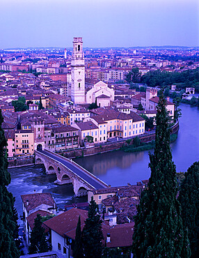 View over the city with Ponte Pietra and River Adige at dawn, Verona, UNESCO World Heritage Site, Veneto, Italy, Europe
