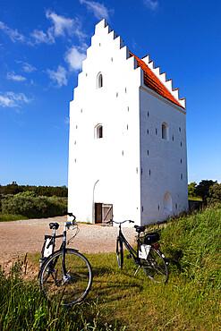 Tower of Den Tilsandede Kirke (Buried Church) buried by sand drifts, Skagen, Jutland, Denmark, Europe
