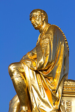 Gilded statue of Prince Albert, The Albert Memorial, Kensington Gardens, London, England, United Kingdom, Europe