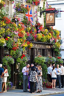 The Churchill Arms, Kensington Church Street, London, England, United Kingdom, Europe