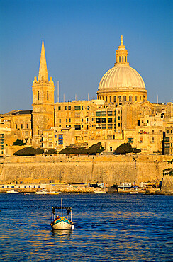 View at sunset to Valletta with Dome of Carmelite Church, Valletta, Malta, Mediterranean, Europe