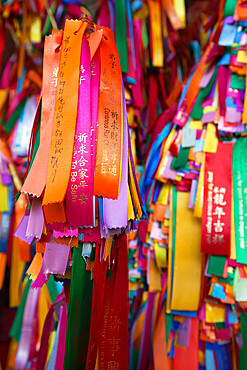 Good luck ribbons for offering at the Kek Lok Si Temple, Crane Hill, Georgetown, Pulau Penang, Malaysia, Southeast Asia, Asia