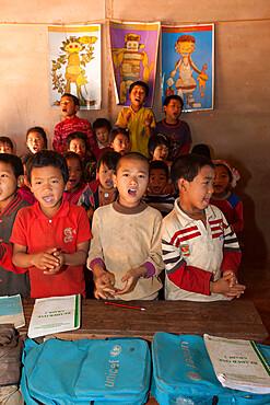 School children from Akha hill village, near Kengtung, Shan State, Myanmar (Burma), Asia