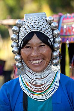 Loimi-Akha woman with silver balled headdress, near Kengtung, Shan State, Myanmar (Burma), Asia