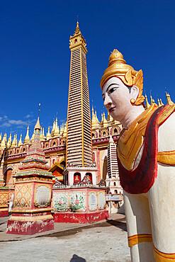 Thanboddhay Paya (pagoda) decorated with mini Buddha images and gilt mini-stupas, near Monywa, Monywa Region, Myanmar (Burma), Asia