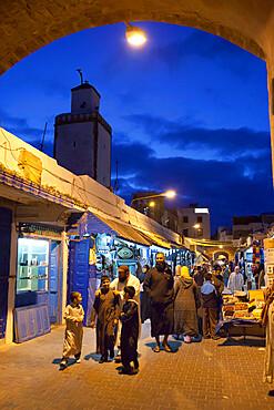 The souk in the Medina at night, UNESCO World Heritage Site, Essaouira, Atlantic coast, Morocco, North Africa, Africa