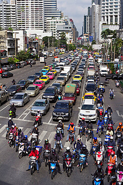 Traffic congestion in downtown area, Bangkok, Thailand, Southeast Asia, Asia
