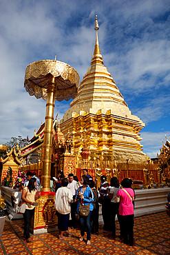 Golden Chedi of Wat Phra That Doi Suthep, Chiang Mai, Northern Thailand, Thailand, Southeast Asia, Asia