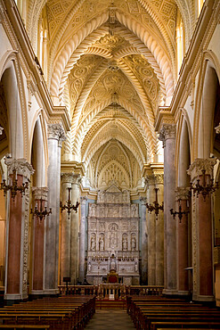 Interior of the Duomo, Erice, Sicily, Italy, Europe