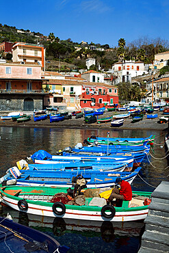View over fishing harbour, Santa Maria La Scala, Sicily, Italy, Mediterranean, Europe