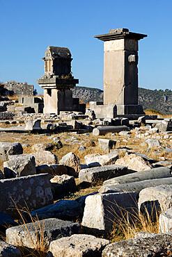 Harpy monument and Lycian tomb, Xanthos, Kalkan, Lycia, Antalya Province, Mediterranean Coast, Southwest Turkey, Anatolia, Turkey, Asia Minor, Eurasia
