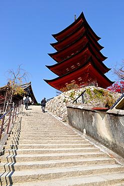 Five-Storey Pagoda(Gojunoto), UNESCO World Heritage Site, Miyajima Island, Western Honshu, Japan, Asia