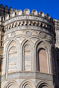 Detail of exterior of the Norman Cattedrale (cathedral), Palermo, Sicily, Italy, Europe