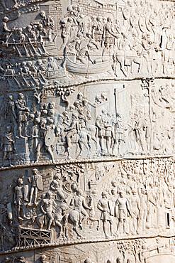 Detail from the Column of Trajan, Trajan Forum (Foro Traiano), UNESCO World Heritage Site, Rome, Lazio, Italy, Europe