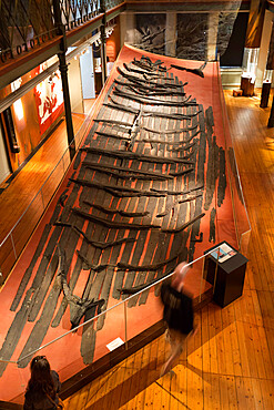 Remains of Viking ship inside the Gothenburg City Museum, Gothenburg, West Gothland, Sweden, Scandinavia, Europe