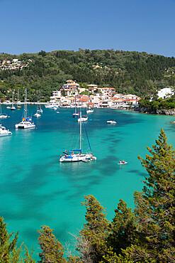 Yachts anchored in bay, Lakka, Paxos, Ionian Islands, Greek Islands, Greece, Europe