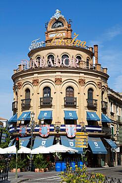 El Gallo Azul rotunda building cafe built in 1929 advertising Fundador brandy, Jerez de la Frontera, Andalucia, Spain, Europe