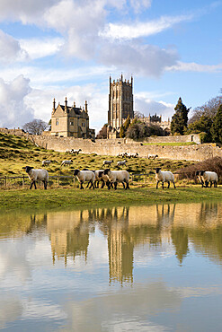 Old Campden House and St. James' church reflected in pond, Chipping Campden, Cotswolds, Gloucestershire, England, United Kingdom, Europe