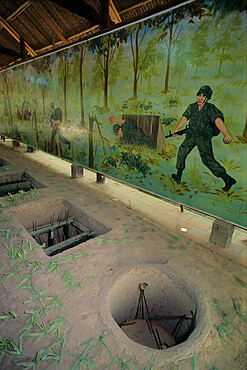 Examples of booby traps used during Vietnam war, Cu Chi Tunnels, near Ho Chi Minh City (Saigon), Vietnam, Indochina, Southeast Asia, Asia