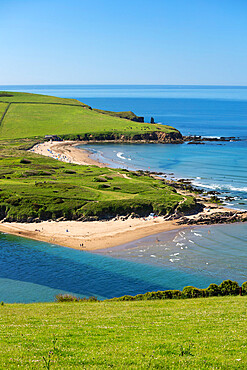 Bantham Sand beach viewed from Bigbury-on-Sea, Bantham, South Hams district, Devon, England, United Kingdom, Europe