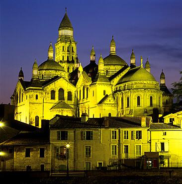 Saint Front Cathedral floodlit at dusk, Perigueux, Dordogne region, Nouvelle Aquitaine, France, Europe