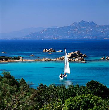 Yacht sailing on the Golfo di Arzachena, Costa Smeralda, Sardinia, Italy, Europe