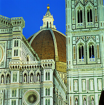 Brunelleschi's dome and exterior of the Duomo floodlit at night, UNESCO World Heritage Site, Florence, Tuscany, Italy, Europe