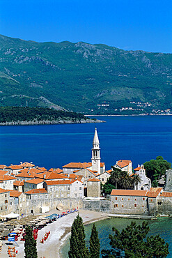 View over Old Town and bay, Budva, The Budva Riviera, Montenegro, Europe