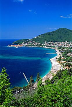 View over town and Slovenska Beach, Budva, The Budva Riviera, Montenegro, Europe