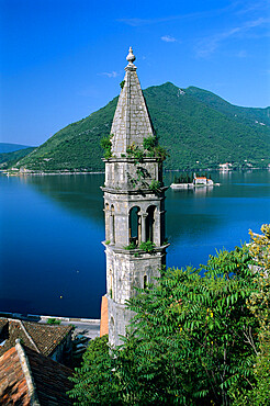 Church of St. Nikola belfry and the Benedictine Monastery of St. George on islet, Perast, The Boka Kotorska (Bay of Kotor), UNESCO World Heritage Site, Montenegro, Europe