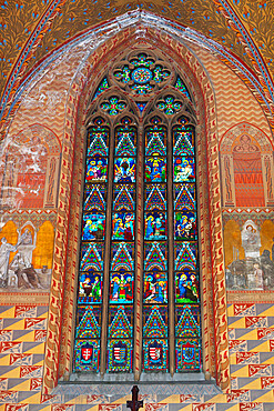 Frescoes and window showing life of Virgin Mary in Matthias Church (Matyas-Templom), UNESCO World Heritage Site, Buda, Budapest, Hungary, Europe