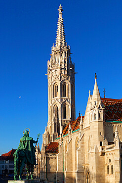 Spire of Matthias Church (Matyas-Templom), Buda, UNESCO World Heritage Site, Budapest, Hungary, Europe