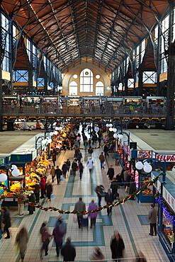 Central Market (Kozponti Vasarcsarnok) at Christmas, Budapest, Hungary, Europe