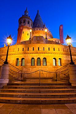 Turrets of Fishermen's Bastion (Halaszbastya) at night, Buda, Budapest, Hungary, Europe