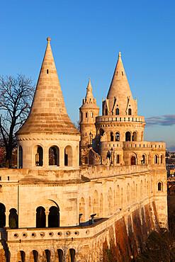 Turrets of Fishermen's Bastion (Halaszbastya), Buda, Budapest, Hungary, Europe