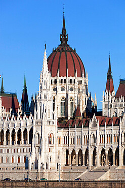 The Parliament (Orszaghaz) across River Danube, UNESCO World Heritage Site, Budapest, Hungary, Europe