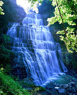 Eventail waterfall, Cascades du Herisson, near Ilay, Jura, Franche Comte, France, Europe