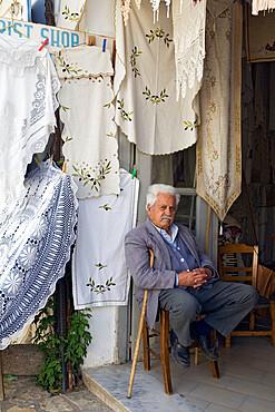 Lace shop, Kritsa, Lasithi region, Crete, Greek Islands, Greece, Europe