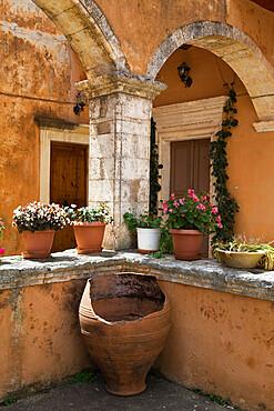 Detail from inside monastery, Agia Triada Monastery (Moni Zangarolo), Akrotiri Peninsula, Chania region, Crete, Greek Islands, Greece, Europe