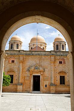 Entrance of monastery, Agia Triada Monastery (Moni Zangarolo), Akrotiri Peninsula, Chania region, Crete, Greek Islands, Greece, Europe