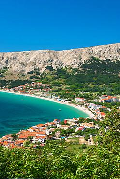View over bay, Baska, Krk Island, Kvarner Gulf, Croatia, Adriatic, Europe